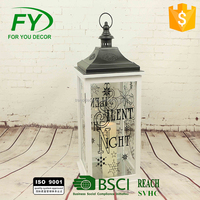 Christmas and holiday wood candle lantern with letter and flower design in four sides ML-2135