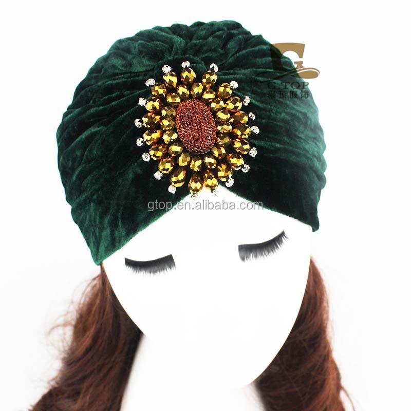 Hot Sale Winter Beaded Flower Jeweled Velvet Turban Head Wrap Tjm-61 - Buy  Winter Head Wrap 303293d8e8a