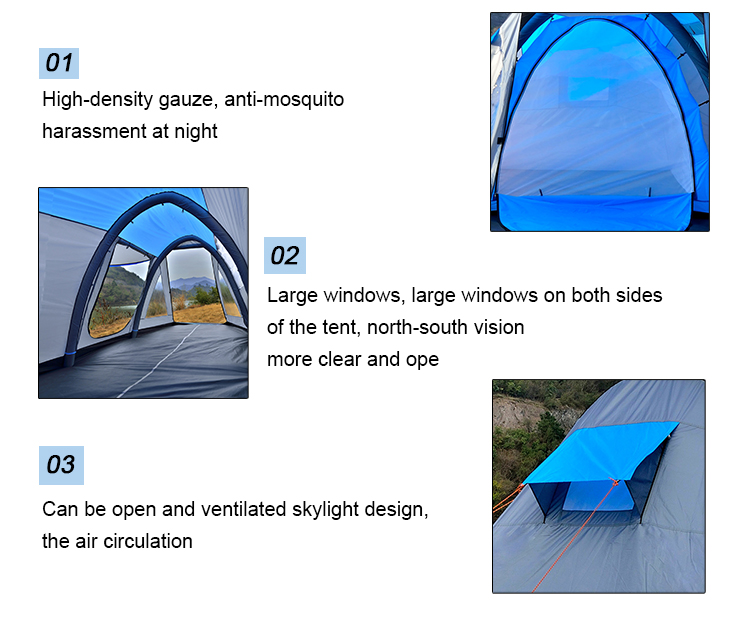 Custom 3/4 Person Inflatable Air Beams Double Floors Bivouac Tent