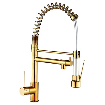 360 degree swivel solid brass pull out flexible spring golden kitchen faucet
