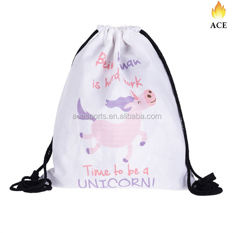 2018 sublimation drawstring backpack bag,polyester Drawstring bags ,cute design cheer bags