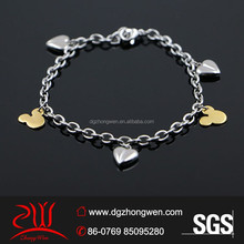 Mode belle mikey charmes <span class=keywords><strong>ops</strong></span> chaîne <span class=keywords><strong>bracelet</strong></span>
