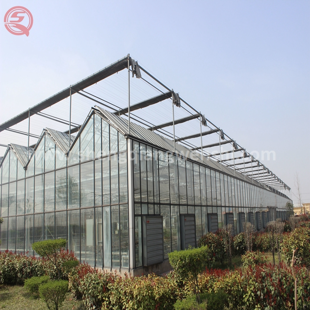 High quality agriculture glass greenhouse used panel vegetables shade net