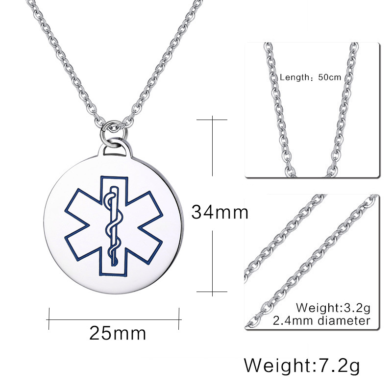 2019 fashion jewelry 25mm round disc medical necklace