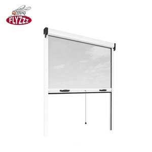 Retractable fly aluminium insect screen window with fiberglass mesh