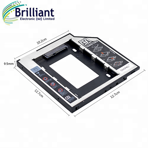 "2nd HDD Caddy 9.5 mm SATA 3.0 to SATA 2.5"" for 9mm 9.5mm SSD HDD Hard Disk Drive Case For Laptop ODD DVD/CD-ROM Optibay"