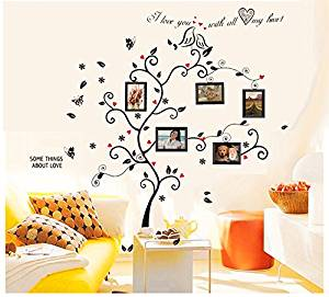 3543541d248 Get Quotations · BOGZON Kiss Birds Trees Hearts Leaves Black Photo Picture  Frame Decal Removable Wall Decals Large Wall