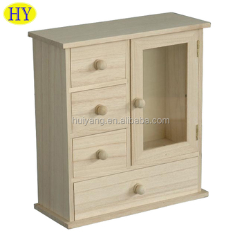Wholesale Cheap Unfinished Wooden Jewelry Box With Drawers