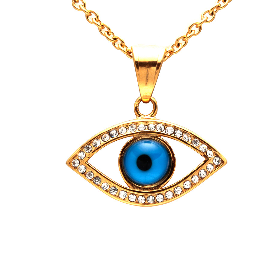 Woman 18K Gold Turkish Eye Necklace Pendant Necklace 18K Gold Crystal Rhinestone Eye Pendant Necklace фото