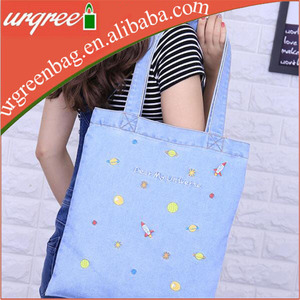Manufacturers Wholesale folding denim canvas bags eco friendly tote shoulder bags