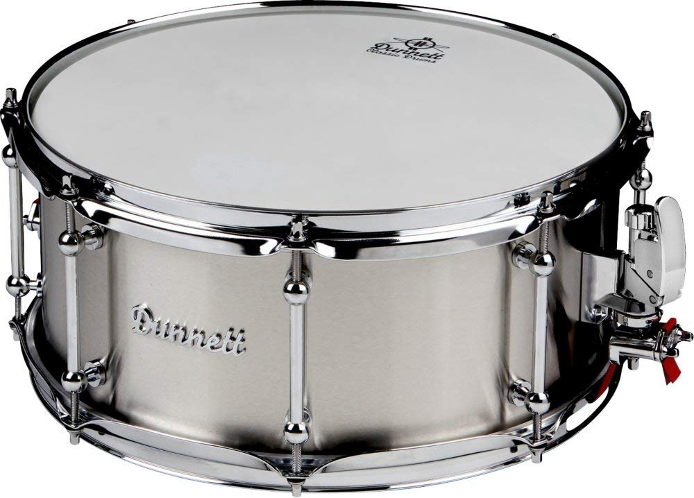 """Dunnett Stainless Steel Snare Drum - 6.5"""" x 14"""" Polished"""