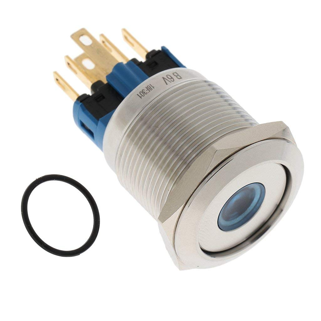 Cheap Nc Push Button Switch Find Deals On Wiring Get Quotations Baoblaze New 22mm Blue Led Reset Self Locking Steel 1no 1nc