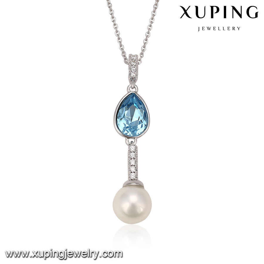 43724 Xuping crystals from Swarovski destiny jewellery,fancy stone necklace with pearl