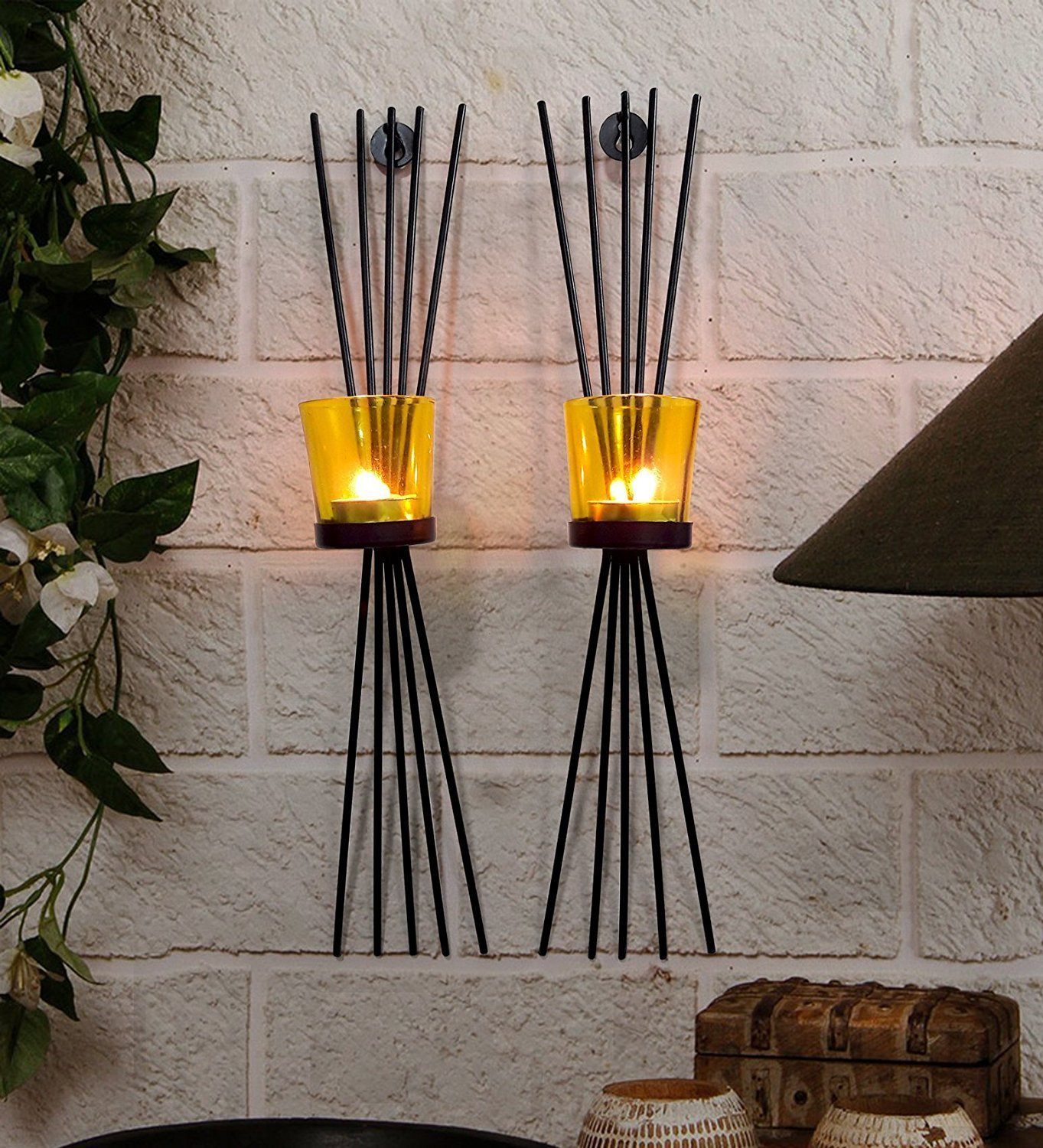 CraftVatika Metal Black Wall Candle Holder Sconces Set Of 2 | Wall Hanging Mounted Holders |