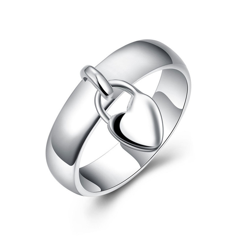 Hot Sale Women Girl Simple Design Fashion Jewelry Heart Silver Rings For Women Ring Design AR-026 Moonso
