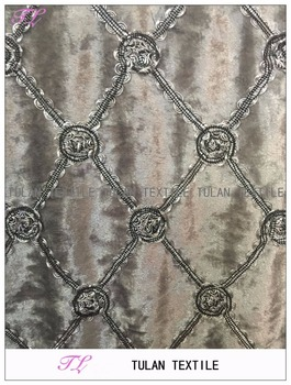 Ribbon Embroidery On High Quality Velvet Fabric For Curtain