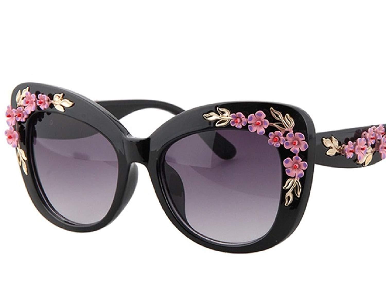 3b30333e3d6da Get Quotations · Baroque Sunglasses Vintage Engraving Flower Sunglasses -  Gold Leaf And Flower
