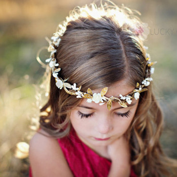 Beautiful Little Girl Hair Accessories Artificial Gold Leaves Flower Hair  Band 237f9598f9a
