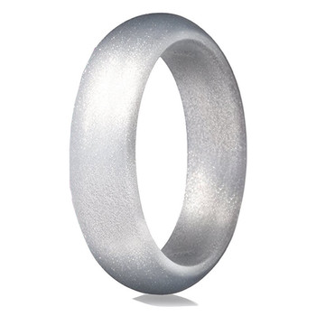 Womens Engagement Debossed Silver Silicone Wedding Band Ring Buy