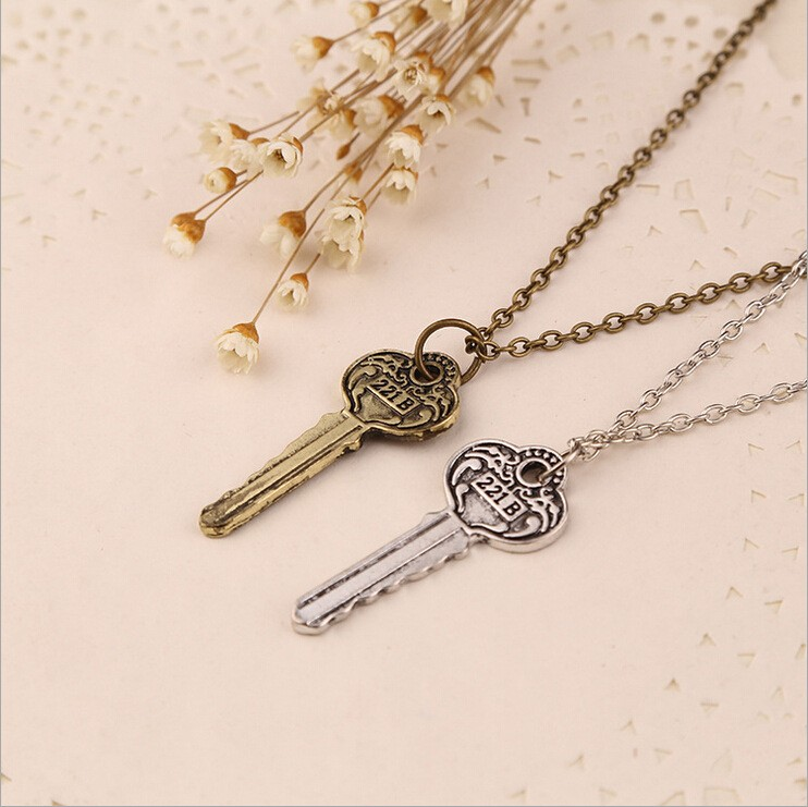 hot drama movie vintage silver/bronze plated key surrounding door pendant necklace for men/women
