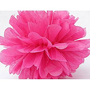 VORCOOL 5pcs 15CM Tissue Paper Pom Poms for Wedding / Party / Baby Shower Supplies (Rose Red)