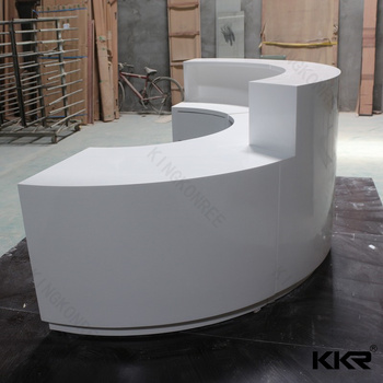 White Color Solid Surface Semi Circle Reception Desk