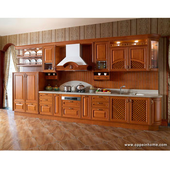 Oppein Modern Solid Wood Kitchen Cabinets With Interior Furniture