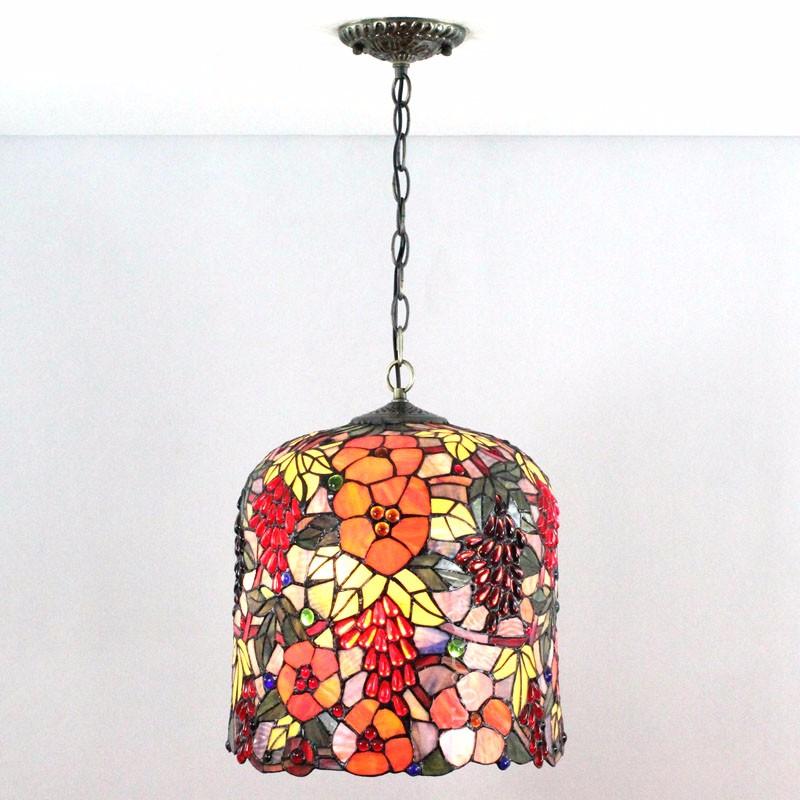 16 pulgadas estilo Tiffany lámpara de vidrio de color arte colgante ...
