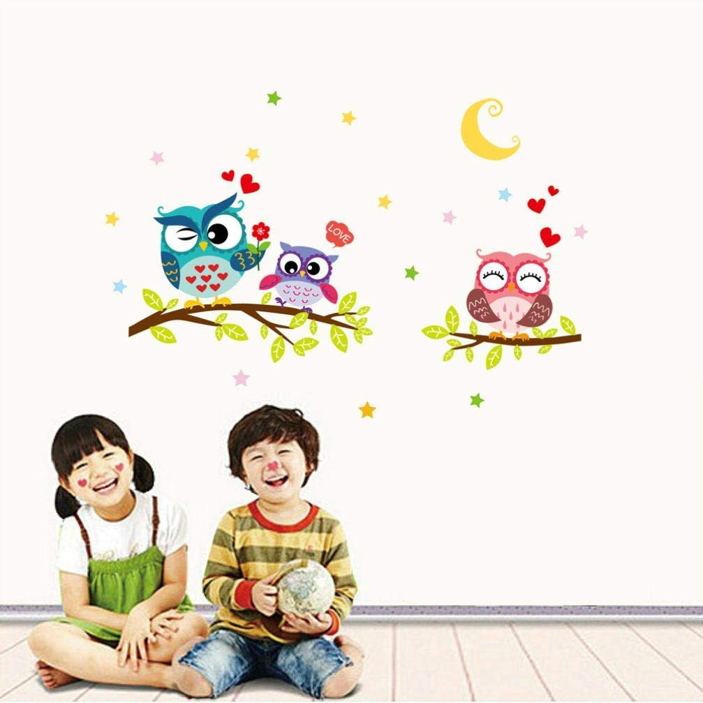 Removable Waterproof Cartoon Animal Owl Wall Sticker for Kids Rooms Home Decor (Multicolor, a)
