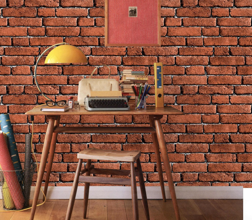 Cheap imitation vinyl bricks stone design wall paper for Black 3d brick wallpaper