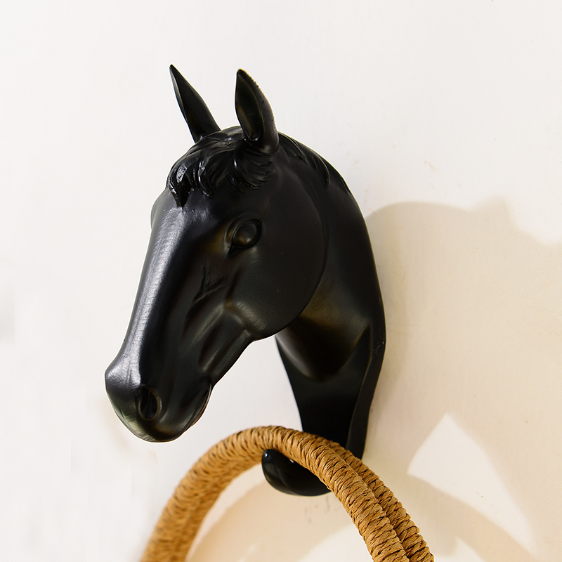 resin horse home wall decoration wall hook black decoration modern wall crafts