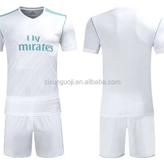 2017/2018 season club team madrid white home soccer uniform full set real away soccer jerseys with shorts