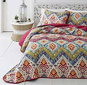 3 Piece Medallian Themed Quilt Full Queen Set, Beautiful Bohemian Hippie Boho Chic Stylish Bedding, Pretty All Over Abstract Motif Pattern, Multi Color Hippy Print, Pink Blue Green Orange Red