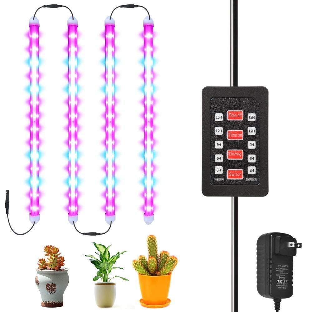 [4-Pack] 28W LED Grow Light Bar with Auto Turn On/Off Timing Function, 56 LED Chips with Red/Blue Spectrum Grow Light for Indoor Plants, 5 Dimmable Levels, 3/6/9/12/15H Timer [DZLight]