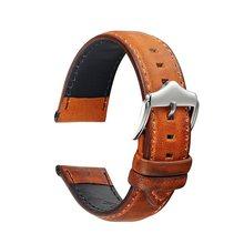 Ремешок для часов из натуральной кожи, 20 мм, 22 мм, сменные ремешки из вощеной кожи с кожаным ремешком для мужчин и женщин(Китай)