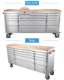 72 inch stainless steel trolley mechanic tool box with wheels/ heavy duty mechanic toolbox