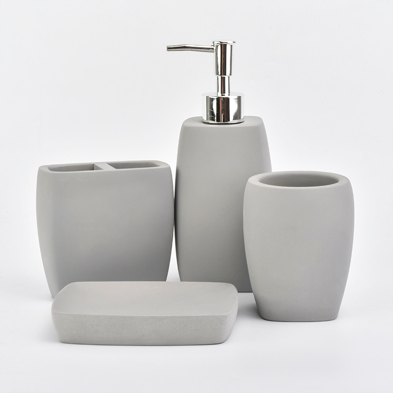 4 pieces set concrete bathroom accessories for home decor