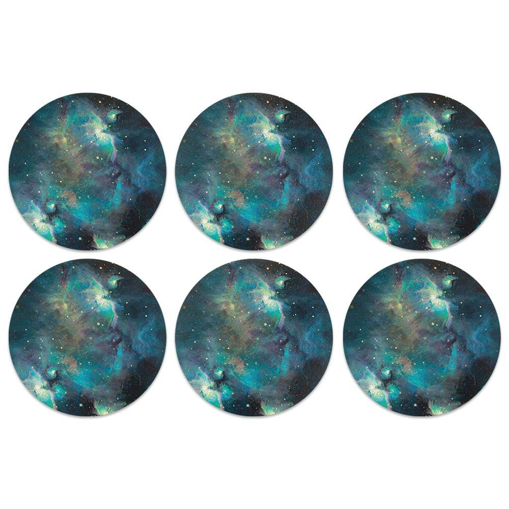 CARIBOU Coasters, Sky Blue Galaxy Nebula Design Absorbent ROUND Fabric Felt Neoprene Coasters for Drinks, 6pcs Set