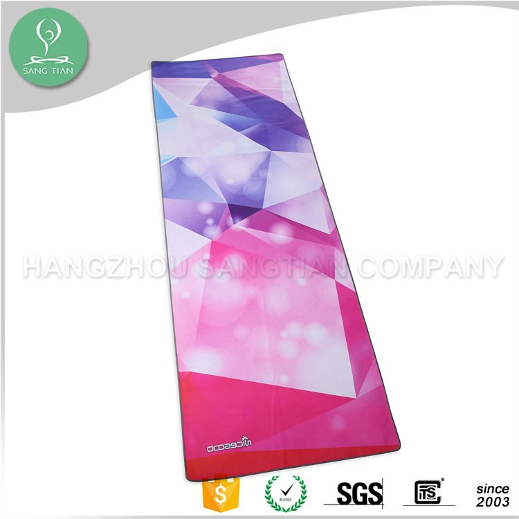 2017 wholesale non slip microfiber printed yoga towel