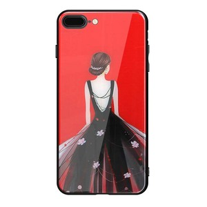 Bling Bling Beautiful Evening Dress Girl Temper Glass Phone Case For iPhone 8 4.7inch Mobile Housings