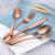 rose gold cutlery,copper flatware,brass flatware sets for wedding event