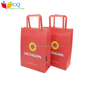 Low Cost 100% recycled and biodegradable red kraft gift paper bag with flat handle