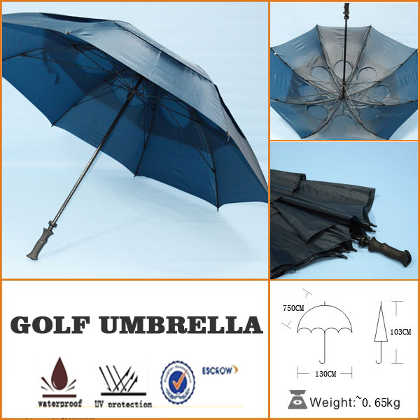 double layers windproof fiberglass golf umbrella with air holes
