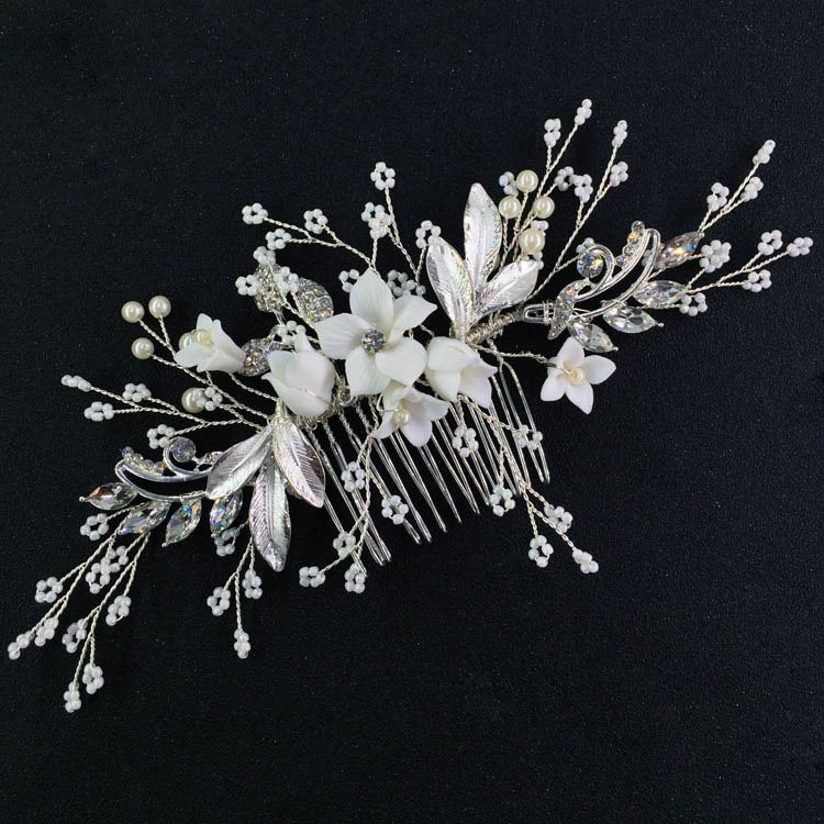 Hair Comb Brushed Enamel Leaf and Porcelain Blossom Wedding Headpiece mini Beaded Accessories Bridal Hair Side Comb Silver