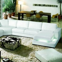 modern design leather sectional sofa with LED light living ropom furniture