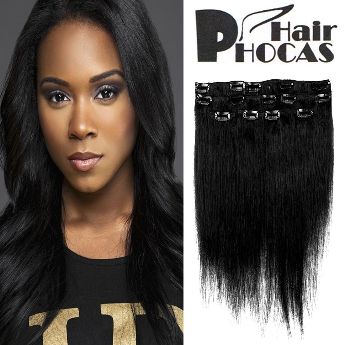 Buy Hairphocas 14 Inch 1 Clip In Remy Human Hair Extensions Jet