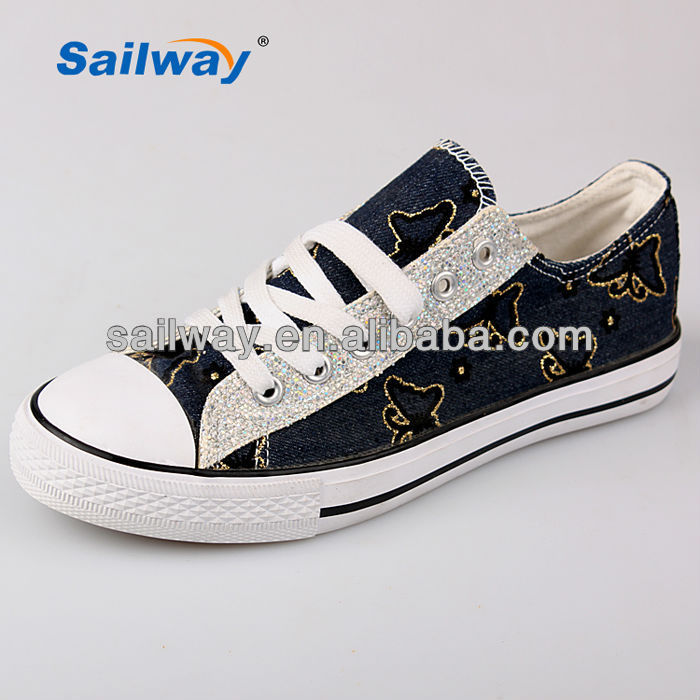 2014 lady sneakers classic style made of glitter material