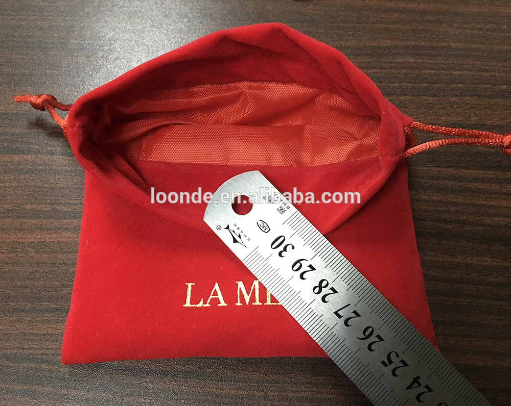 Personalized red velvet lining bag with gold stamping logo
