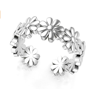 Adjustable S925 Sterling Silver Flower Toe Foot Ring