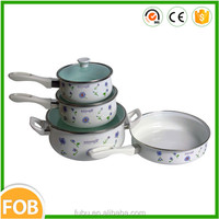 7pcs Carbon steel enamel coating Enamel Cookware/cookware sets kitchen